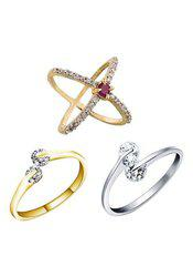 Aabhu CMB393 American Diamond Conventional Combo of 3 Party Wear Finger Rings Jewellery For Women And Girls