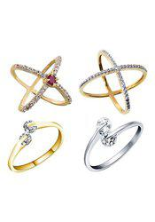 Aabhu CMB397 American Diamond Fashionable Combo of 4 Party Wear Finger Rings Jewellery For Women And Girls