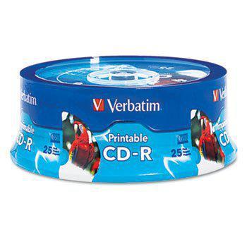 Verbatim Americas 96189 Hub Inkjet Printable CD-R Discs 700MB 80min 52x White 25 Pack 1-Pack