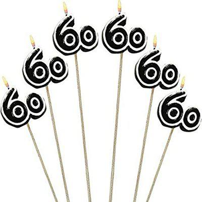 The Party Continuous 60th Birthday Party Molded Candle on a Stick Decoration, Pack of 6, Multi , 9 1/2 Wax, stick