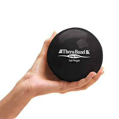 TheraBand Soft Weight, 4.5 Diameter Hand Held Ball Shaped Isotonic Weighted Ball for Isometric Workouts, Strength Training and Rehab Exercises, Shoulder Strengthening and Surgery Rehabilitation, Black, 6.6 pound