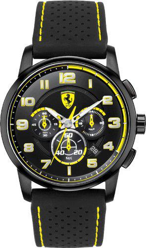 Ferrari Heritage Chronograph Black and Yellow Dial Black Silicone Mens Watch 830061