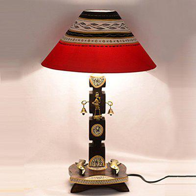 ExclusiveLane 20 Inch Dhokra and Warli Handpainted Wooden Home Decorative Night Lamp for Living Room Bedroom (Brown and Red, Without Bulb)