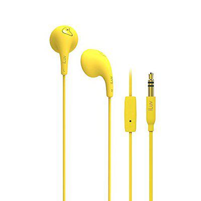 iLuv BBGUMTALKSYL Colorful Stereo Earphones with Mic and Remote-Yellow