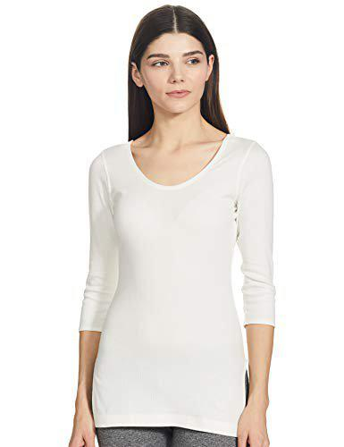 9c4286fb6fdc Jockey Women's Cotton Thermal 3/4th Sleeve Top (2503-0105-OFFWHITE-