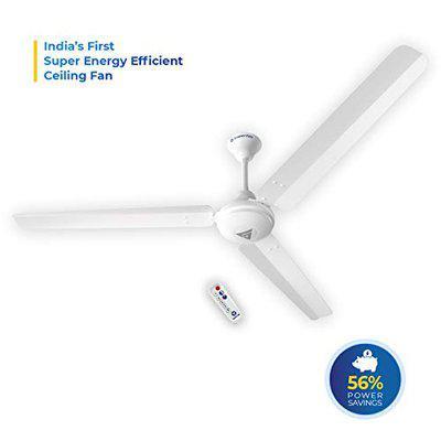 Super Fan V1 Aluminium Ceiling Fan with Remote Control (38Watts, White)