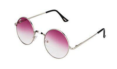 Clark n' Palmer Pink Gradient Silver Frame Round Sunglasses For Men Women