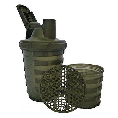 Grenade Shaker With Protein Compartment - Army Green (20 Ounce)