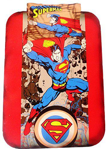 AMK HOME DECOR Superman Kids Single bedsheet(230x160) with 1 Pillow Cover