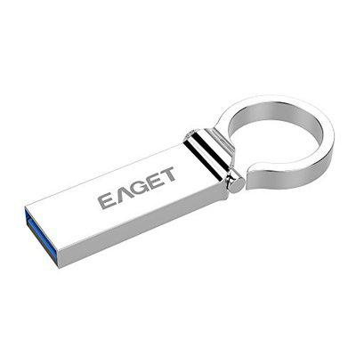 EAGET 64GB USB 30 Super Speed Flash Drive with Full Metal Casing  Hooked Key Ring Design  U96
