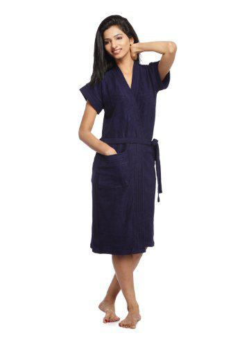 SAND DUNE Sanddune Women's Cotton Bathrobe (Navy Blue, X-Large)