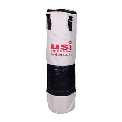 USI Bouncer Canvas Unfilled Punching Bag, 18-inch (White/Black)