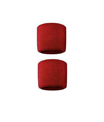 Red Sports All Weather And Washable Stuff Wrist Band - Pack of 2