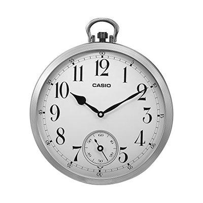 Casio Round Resin Analog Wall Clock (IQ-668DF-WCL60, Silver)