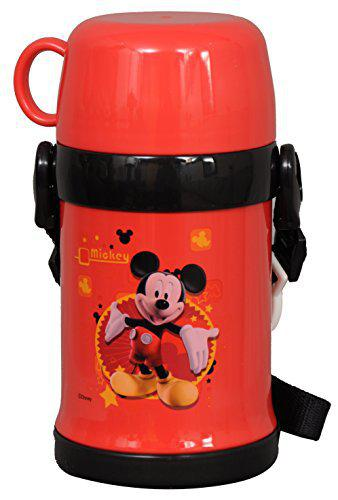 Disney Mickey Mouse Stainless Steel Sipper Bottle, 450ml, Red/Black