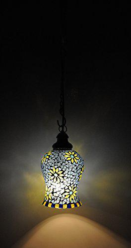 Lalhaveli Hanging Ceiling Lamp, Blue Green, Round, 7 inches, HND01338