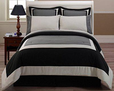 Bella 400tc 100% Cotton Satin King Size Duvet Cover Set (3 Piece) - Includes 1 Bedcover and 2 Pillow Covers. Colour : White, Grey and Black