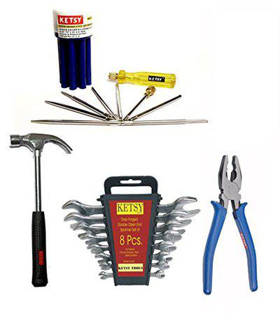 KETSY Steel Home Tool Kit (8-inch, Multicolour) -19 Pieces