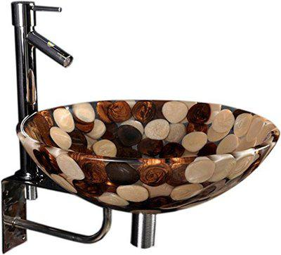 Lucky Sandal Brown Acrylic Wash Basin with Adson Tap and Stand