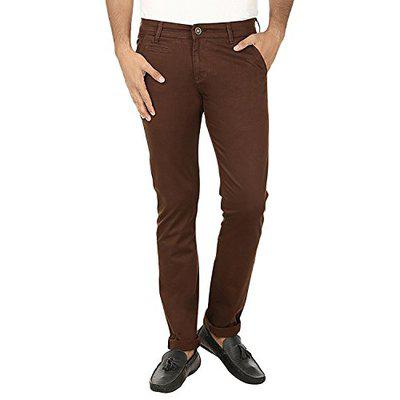 Fever Men's Relaxed Fit Casual Trousers (211657-brn-34_brown_34w X 33l)