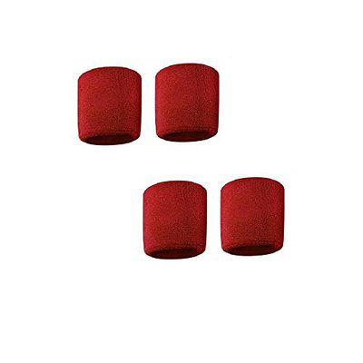 Red Sports All Weather And Washable Stuff Wrist Band - Pack of 4