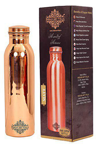 Indian Art Villa Joint Free Leak Proof Copper Bottle With 1 Tongue Cleaner, 800 ml, 2 Pieces