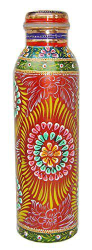 Rastogi Handicrafts Pure Copper Water Bottle for Ayurveda Health Benefits (Joint Free and leak proof) Hand Painted Art Work for Diwali Gift Christmas Gifting