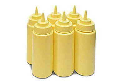 THW 16 oz (473 ML) Plastic Squeeze Bottles for Ketchup BBQ Sauce Syrup Condiments Mustard Mayo Hot Sauce Olive Oil Dressing, Yellow- Pack of 6 Pieces