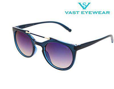 Vast UV Protection Premium Round Top Bar Women Sunglasses (96005) (BLUE BLUE MIRROR)