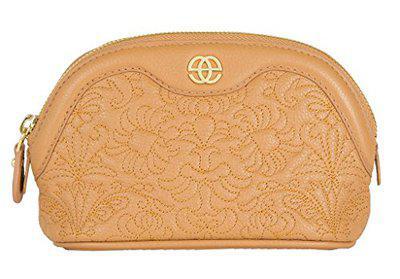 Eske Women Beige Self Design Zip Around Leather Wallet