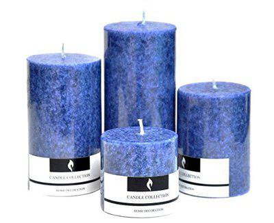 Aromatic Sea Breeze Scented Candles Pillar Candles Size 4.5X2, 3.5X2, 3X 2 and 2X2. - Set of 4 - by Marigold Stores