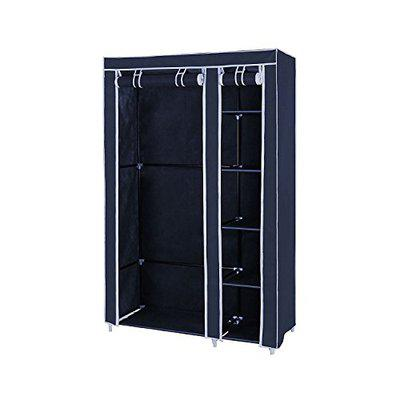 House of Quirk FANCY & PORTABLE FOLDABLE MAROON CLOSET WARDROBE CABINET Portable Multipurpose Clothes Closet Portable Wardrobe Storage Organizer with Shelves 3.5 feet Folding Wardrobe Cupboard Almirah Foldable Storage Rack Collapsible Cabinet (BLUE) (NEED TO BE ASSEMBLED)