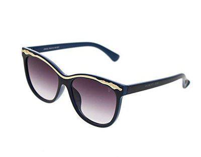 Vast UV Protection Polycarbonate Cat Eye Women's Sunglasses (Blue, Grey Lens, 56)