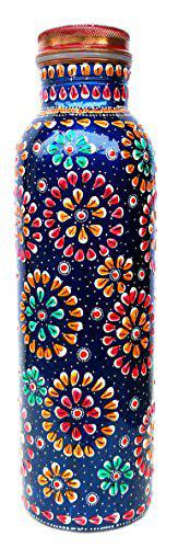 Pure Copper Water Bottle for Ayurvedic Health Benefits (Joint Free and Leak Proof) Hand Painted Art Work