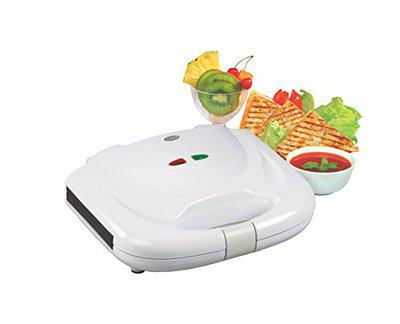 Glen Plastic Sandwich Grill Maker with Non-stick Coating on Plates, White