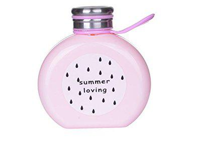 GeekGoodies Creative Plastic Water Juice Thermos Storage Bottle Round with Steel Cover- Pink