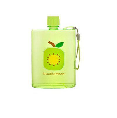 GeekGoodies Fruit Print Plastic Water Bottle A6 Notebook Flat Portable Non Slip Lid Leakproof Drinkware - Green