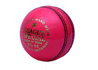 CW Pack of 6 League Special Pink Cricket Ball Leather Entirely Hand Stitched,5.5oz