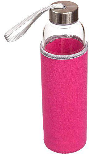 House of Quirk 550Ml Green Tea Bottle Borosilicate Glass Nylon Sleeve with Tea Infuser - Pink