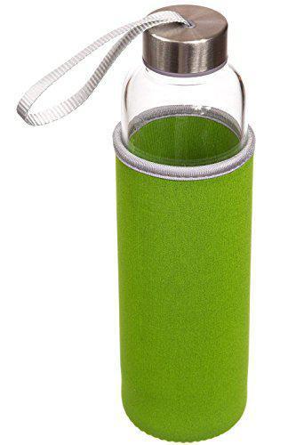 House of Quirk 550Ml Green Tea Bottle Borosilicate Glass Nylon Sleeve With Tea Infuser-Green