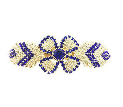 Accessher Studded Blue Hair Clip with Rhinestone for Womens