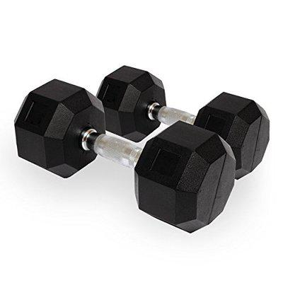 Kobo Imported Home Gym Exercise 8 kg x 2 (Total 16 kg) Cardio Aerobic Training Fitness Grippy Hex Rubber Dumbbell (Pair)
