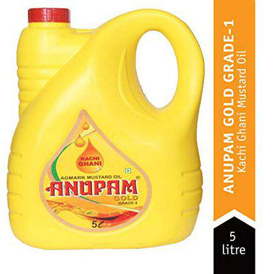 Anupam Gold Mustard Oil (Kachi Ghani) for Cooking Oil 5 Liter Jar for Kitchen and Home Healthy Cooking