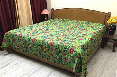 Stylo Culture Bedspread Double Bed Hand Stitch Kantha Bedding Printed Cotton Decor Bird Green