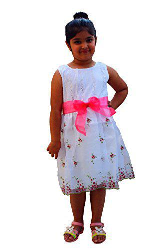 CAMEY Girls Frock (5-6 Years) White
