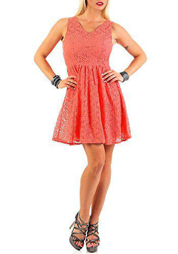 VERO MODA Women's Cotton Skater Dress (10174544_Georgia Peach_XL)
