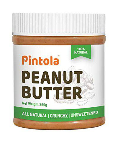 Pintola All Natural Peanut Butter (Crunchy) (350g) | Unsweetened | 30g Protein | Non GMO | Gluten Free | Vegan | Cholesterol Free