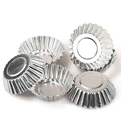 Rolex Aluminium Cup Cake Tart Mould Muffin Jelly Pie Mould, 6 Pieces, Silver, for 6 Muffins