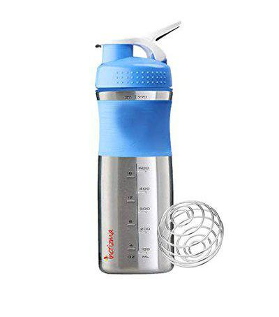 Incrizma Unisex's Sport Mixer Stainless Steel Shaker Bottle with Mixing Ball, Aqua and White, 800 ml