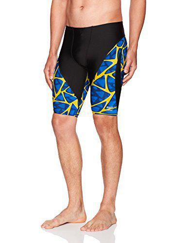 Speedo Men's Caged Out Jammer Endurance+ Swimsuit, 30, Sapphire/Gold